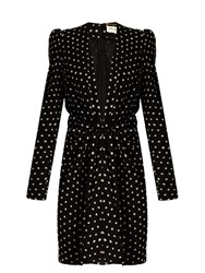 Saint Laurent Lipstick Dot Crepe Dress Black White