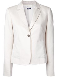 Jil Sander Navy Single Button Blazer White