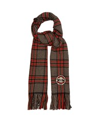 Gucci Fringed Houndstooth Check Logo Patch Scarf Black Red