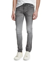 John Elliott Slim Paint Splatter Stretch Denim Jeans Gray