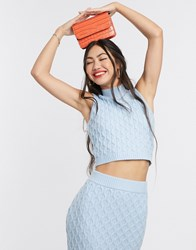 Native Youth High Neck Sleeveless Top In Cable Knit Co Ord Blue