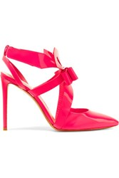 Nicholas Kirkwood Bow Embellished Patent Leather Pumps Bright Pink