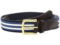 Vineyard Vines Edgartown Stripe Canvas Club Belt White Cap Men's Belts Blue