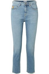 Mira Mikati Cropped Embroidered High Rise Straight Leg Jeans Blue