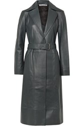 Elizabeth And James Reese Belted Leather Trench Coat Dark Gray
