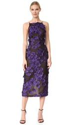 Jason Wu Floral Sleeveless Fil Coupe Dress Black Iris