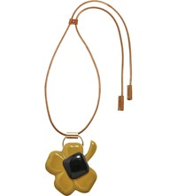 Marni Clover Horn And Resin Pendant Necklace Black