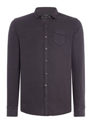 Replay Men's Linen Shirt With Chest Pocket Nearly Black