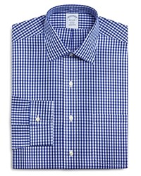 Brooks Brothers Non Iron Frame Check Classic Fit Dress Shirt Blue