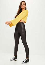 Missguided Black Faux Leather Coated Leggings