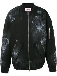 Marna Ro Floral Bomber Jacket Men Cotton L Black