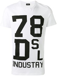 Diesel Printed T Shirt White