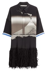 Marco De Vincenzo Graphic Print Silk Dress Black