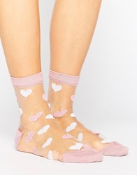 Asos Valentines Sheer Heart Socks Pink