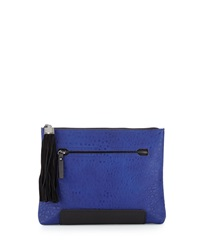 French Connection Camden Colorblock Suede Tassel Clutch Bag Monarch Bl