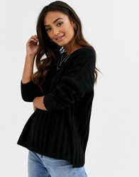 Jdy Brushed Rib Knitted Jumper In Black