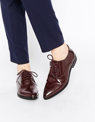Park Lane Point Lace Up Leather Flat Shoes Burgundy