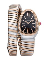 Bulgari Serpenti Diamond 18K Rose Gold And Stainless Steel Tubogas Bracelet Watch