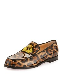 Christian Louboutin Laperouza Patent Crest Red Sole Loafer Leopard Print Brown Pattern