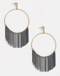 Ny Lon Nylon Gold Hoop Earrings With Silver Chain