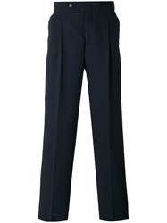 Editions M.R High Waisted Trousers Men Polyester Virgin Wool 46 Blue