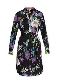 Diane Von Furstenberg Floral Print Silk Shirtdress Black Multi