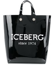 Iceberg Patent Tote Bag Black