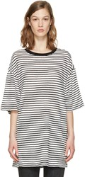 R 13 R13 White Striped Boyfriend T Shirt