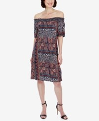 Lucky Brand Off The Shoulder Dress Navy Multi