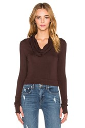 Blue Life Cowl Neck Crop Top Brown
