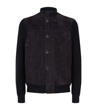 Corneliani Suede Knit Jacket Male Navy