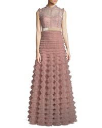 J. Mendel Sleeveless Lace Bodice Gathered Tulle Evening Gown Pink