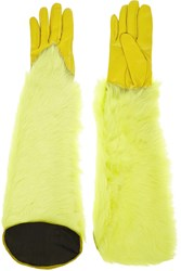 Kenzo Leather And Shearling Gloves Yellow
