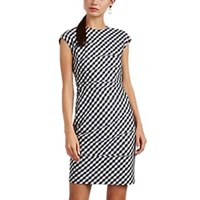 Narciso Rodriguez Gingham Weave Wool Fitted Sheath Dress White Blk