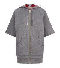 Burberry Check Lined Hoodie Female Grey