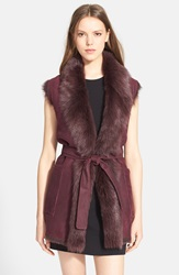 Vince Reversible Genuine Lamb Fur Vest Bordeaux