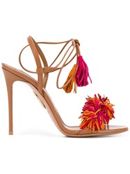 Aquazzura Fringed Sandals Women Leather Suede 36 Brown