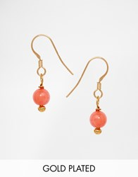 Mirabelle Coral Drop Gold Plated Earrings Coral