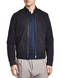 The Kooples Vietnamese Coffee Leather Trim Bomber Jacket Navy