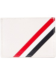 Thom Browne Striped Detail Cardholder And Purse White