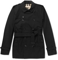 Burberry Kensington Short Length Cotton Trench Coat Black