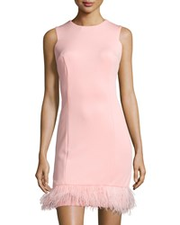 Maia Feather Hem Sleeveless Sheath Dress Pink