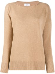 Allude Dropped Shoulders Jumper Brown