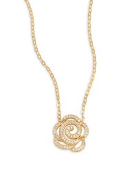 Nadri Open Floral Pendant Necklace Gold