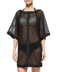 Carmen Marc Valvo City Slick Sheer Mesh Coverup