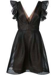 Marchesa Notte Ruffled Mini Plunge Dress Nylon Polyester Black