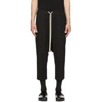 Rick Owens Black Wool Drawstring Trousers