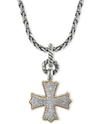 Effy Collection Effy Diamond Cross Pendant Necklace 1 3 Ct. T.W. In 18K Gold And Sterling Silver