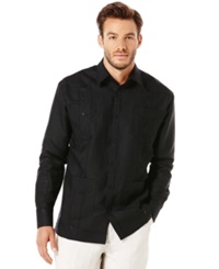 Cubavera Guayabera 4 Pocket Embroidered Shirt Jet Black