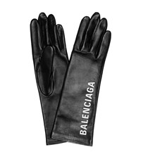 Balenciaga Printed Leather Gloves Black